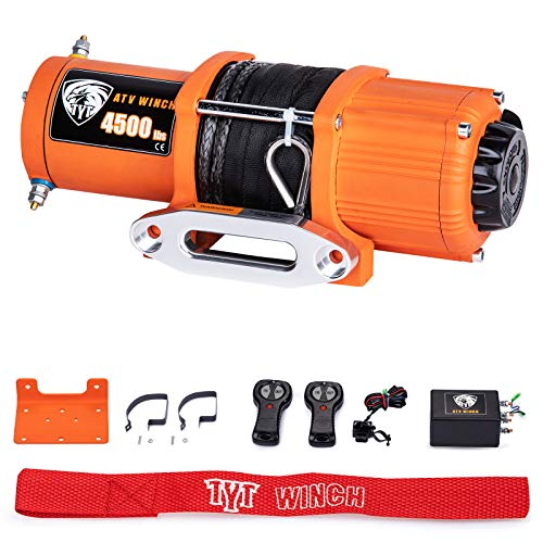 TYT 4500 lb. Advanced Load Electric Synthetic Rope Winch for Towing ATV/UTV Off Road Kits, 12V Electric Winch with Hawse Fairlead, 2 Wireless Remotes and Mounting Bracket