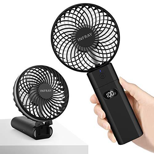 infray Handventilator mit Powerbank 5200mAh, Ventilator klein Handventilator mit Anzeigeschirm, USB Ventilator Mini tragbarer Tischventilator mit akku, 5 Stufen, 5-20 Std. Arbeitszeit (Schwarz)