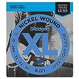 D'Addario EJ21 Juego de Cuerdas para Guitarra Eléctrica de Níquel, Plateado, Jazz Light, 12-52