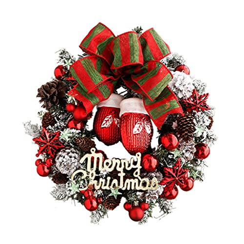XIN CHANG LWH Bow Christmas Guirnalda, Pino Creativo Decoraciones De Navidad Coronas De Navidad para Puerta Principal Festival De Vacaciones Décor De Pared 30 Cm
