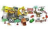 Brigamo Dino World - Estación de investigación para coches con figuras de dinosaurios T Rex y coches de juguete