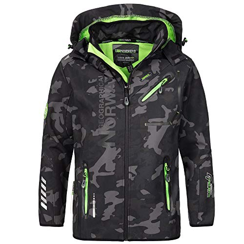 Geographical Norway Herren Softshell Outdoor Jacke Rainman Turbo-Dry Kapuze (S, Black/Green)