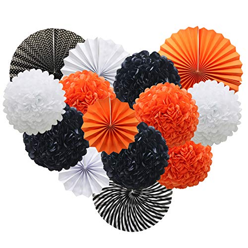 Orange White Black Hanging Paper Party Decorations, Round Paper Fans Set Paper Pom Poms Flowers for Halloween Birthday Wedding Graduation Baby Shower Events Accessories