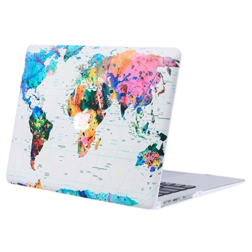 MOSISO Hard Case Compatible with MacBook Air 13 inch Model A1369 / A1466 (Release 2010-2017 Older Version), Ultra Slim Pattern Plastic Protective Snap On Shell Cover, World Map