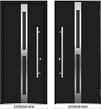 Front Exterior Prehung Glass Steel Door 36 x 80 inches Left -Hand/Deux 1755 Black Enamel/Lite and Stainless Inserts Single Mo