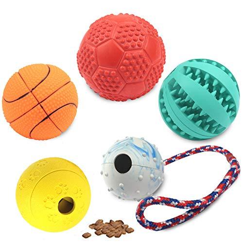 Elezenioc 5 Hundeball Naturkautschuk Hundespielzeug,Intelligenz Welpenspielzeug Hundefutter Ball,Zahnpflege Ball,Bell Ball Robust mit Seil,Quietschender Spielzeug (Kleine Mittlere und große Hunde)