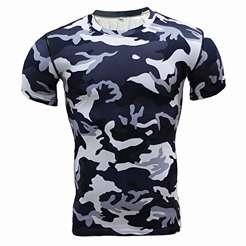 Kurzarm-Strumpfhose Fitness Wear MäNner Sport Cool Outdoor Camouflage SchweißAbsorbierend Schnelltrocknend Basketball Running T-Shirt S T Shirt Sommer Fussball T Shirt Herren Grmy