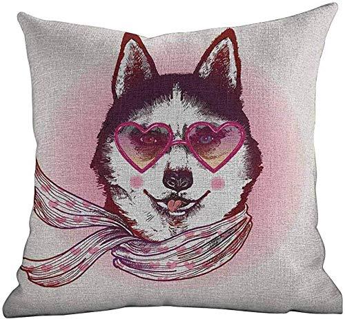 Bed Kussensloop Cartoon, Hipster Husky Hond met Hartjes Zonnebril en Sjaal Mode Animal Art Print,Roze Crème Zwart, Aangepaste Gooi Kussensloop Kussensloop Kussensloop Kussensloop Cover 16