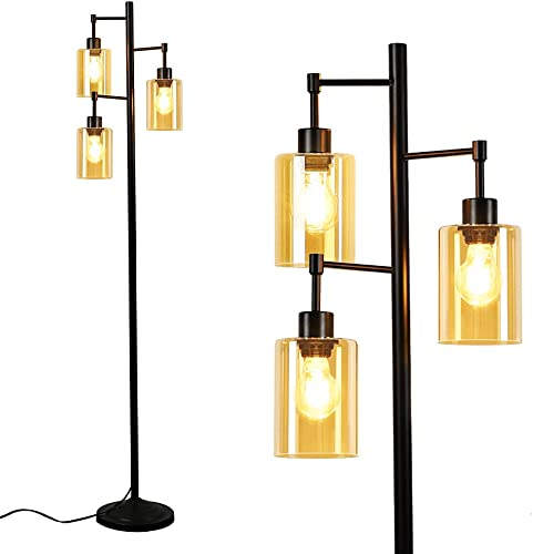 wholesale Depuley 3-Light outlet sale Industrial Tree Floor Lamp, Standing Lamp with Elegant online Amber Glass Shade, Retro Pole Tall Floor Light for Living Room, Reading, Office, Bedroom (3 LED Bulbs Included) outlet online sale