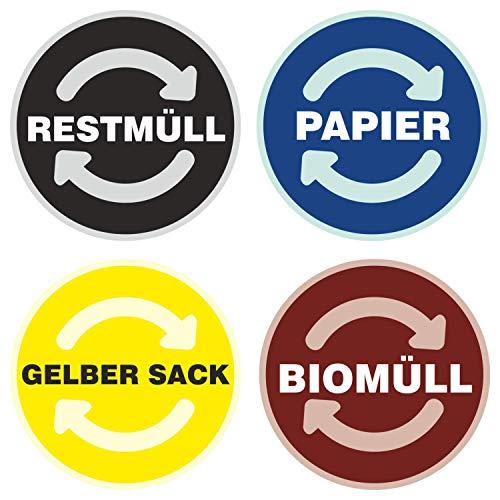 deformaze Sticker Set RESTMÜLL PAPIER GELBER SACK BIOMÜLL Aufkleber Mülltonne Mülleimer Recycling Abfall Mülltrennung Wertstoffkennzeichnung UV Wetterfest 9cm