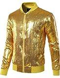 JOGAL Mens Sequins Nightclub Styles Zip up Varsity Baseball Bomber Jacket Medium A346 Gold