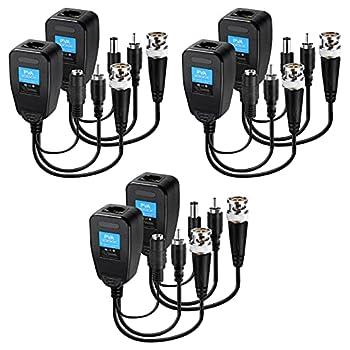 Passive Video Balun 3 Pairs Passive Video Power Balun Audio Connector 960P/1080P/2MP BNC to RJ45 Network Transceiver Cat5e/Cat6 Adapter AHD/TVI/CVI/CVBS for Full HD Surveillance Camera System Balun83