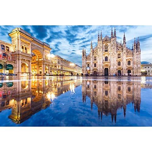 DJHOLI 300 500 1000 1500 Piezas MUNDIALES Famosos Atracciones DE Atracciones DE Madera PIZZLES DE PISTRIOS para ADULTIVOS para Adultos - Milan CHIRCHOF Duomo, Juguete Educativo, JU