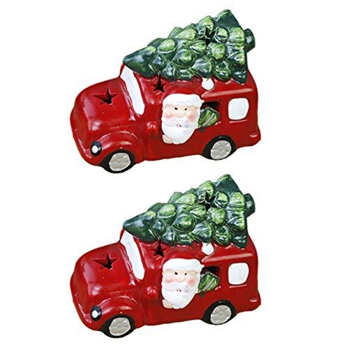 STOBOK 2 Peças de Caminhão Vermelho Com Ãrvore de Natal Papai Noel Dirigindo Modelo de Carro de Resina Pickup Bolo de Coco para Decoração de Casa de Fazenda Vintage