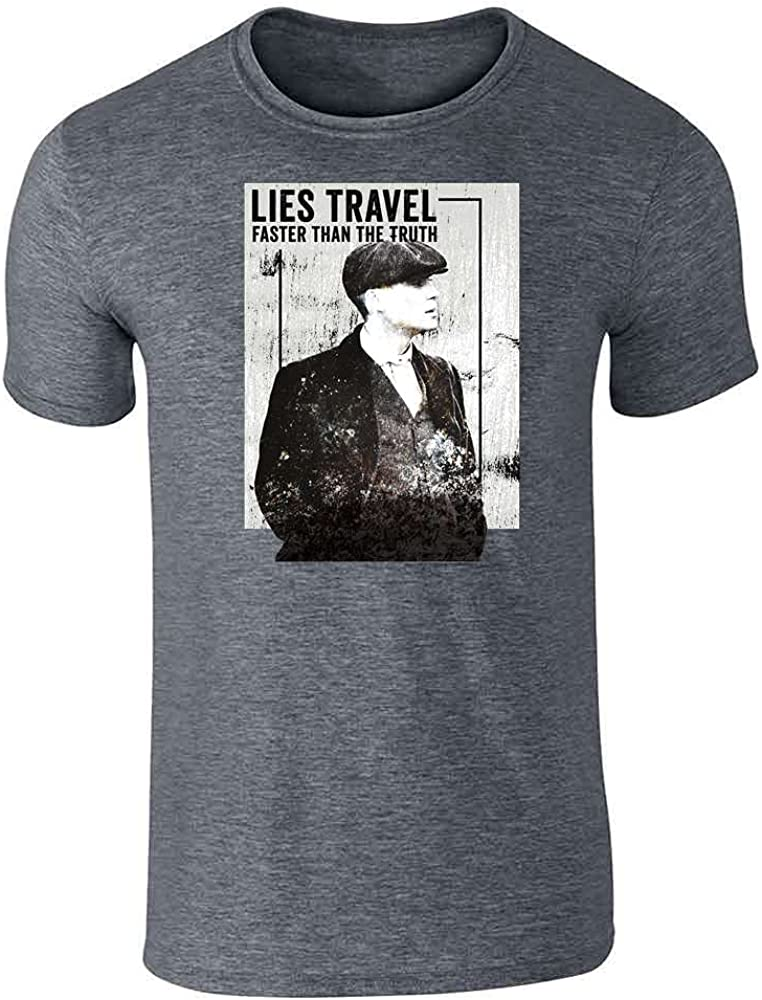 Pop Threads Peaky Blinders Merchandise Tommy Lies Travel Quote Graphic Tee T-Shirt for Men