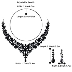 Clearine Women's Wedding Bridal Austrian Crystal Teardrop Cluster Statement Necklace Dangle Earrings Set Black Black-Tone #3