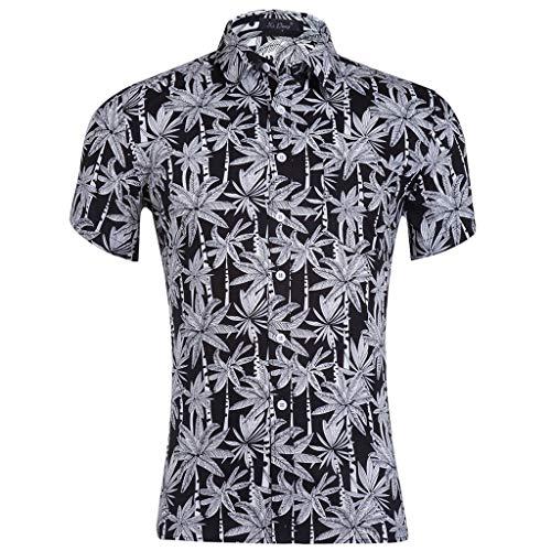 Eaylis-Herren tops Kurzärmliges Top-Shirt Mit Blattdruck