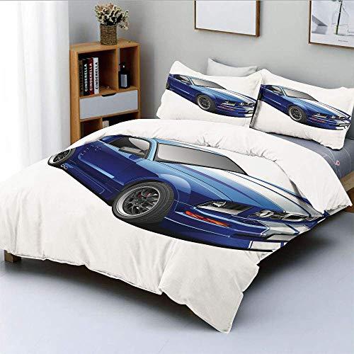 Bettbezug-Set, American Auto Racing Car Sportwettbewerb Speed Winner Jungen Kinder GraphicDecorative 3-teiliges Bettwäscheset mit 2 Kissen Sham, Blaugrau, Kinder & Erwachsen