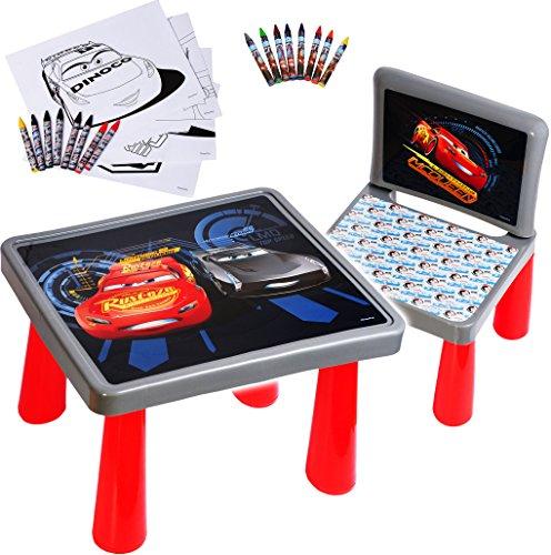 alles-meine.de GmbH Set: Tisch & Stuhl - incl. Malvorlagen + Stifte - Disney Cars / Auto - Lightning McQueen - Auto - Maltisch / Zeichentisch / Schreibtisch / Spieltisch - für Ki..