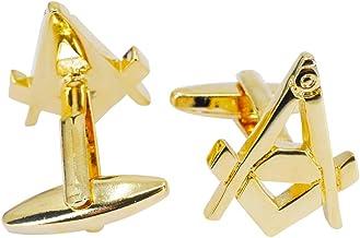 Juego de gemelos de corbata de masones cuadrados y br/újula color dorado Sincerelyforyou