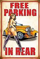 後部ティンサインの装飾の無料駐車場ヴィンテージ壁金属プラークレトロ鉄の絵のカフェバー映画ギフト結婚式誕生日警告
