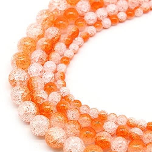 Natural colorido nieve agrietado cristal piedra perlas 6/8/10/12 mm para hacer joyas redondas sueltas espaciadoras perlas DIY pulsera naranja 10mm aprox 38beads