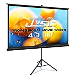 Projector Screen with Stand, Premium 3 Layers 110 inch 4K HD 4:3 Projector Screen Pull Down Screen, Protable Outdoor/Indoor Projector Screen Wrinkle Free for Office Home Theater Backyard Movie