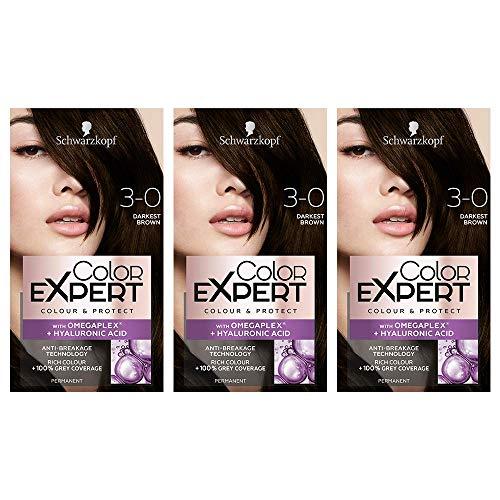 Schwarzkopf Color Expert Haarfarbe mit Omegaplex + Hyaluronsäure, 3.0 dunkelstes Braun, 3 Stück