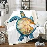 Manta de forro polar de tortuga marina, para niños y adultos, manta de felpa, para acuarios de reptiles 3D, marineros, marinos, marinos, marinos, decoración de habitación King 221 x 238 cm