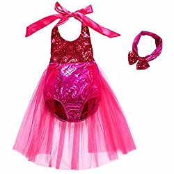 Rose Red Sequins Swimsuit Mermaid Bikini Dress Up Romper