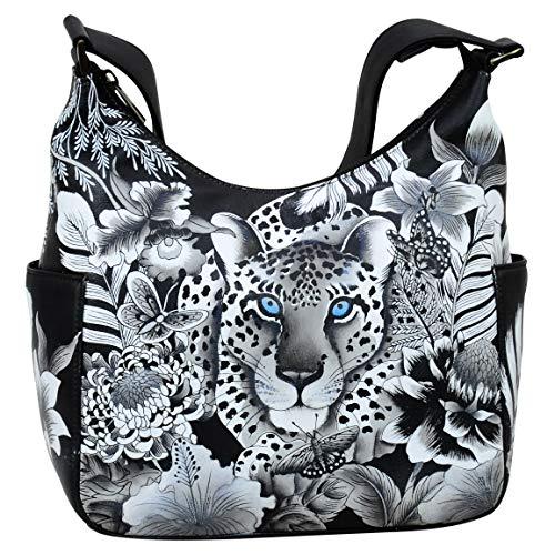 Anuschka Damen Handtasche aus echtem Leder   Klassische Hobo mit Seitentasche Gr. One size, Cleopatra Leopard