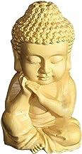 Baosity Cute Wood Carved Little Sakyamuni Statue Figurine Buddha Statue Home Decor Sculpture Tea Pet