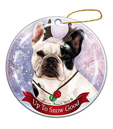 Holiday Pet Gifts French Bulldog White/Black Dog Porcelain Christmas Ornament