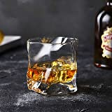 Home+ Vasos de Whisky, Irregularmente En Forma De Whisky De Cristal Esférico Patrón De Hielo De Papel Plegable De Cristal De Whisky Vaso De Cerveza (Capacity : 300ml, Color : 2 Pcs)