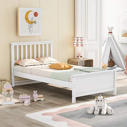 Harper & Bright Designs Twin Platform Bed Frame with Storage Drawers Kids (White-2)