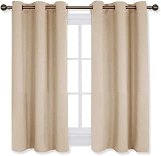 NICETOWN Room Darkening Curtain Panels for Living Room, Thermal Insulated Grommet Room Darkening Draperies/Drapes for Window (Cream Beige, 2 Panels, W42 x L45 -Inch)