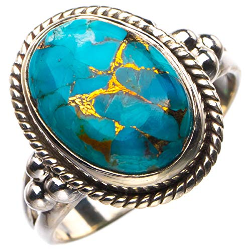 StarGems Anillo de plata de ley 925 de cobre natural turquesa hecho a mano P 1/2 D4754