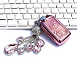 YIJINSHENG Car Key TPU Soft Plating Protection Shell Quicksand Star Sequins Flowing Case Cover for Honda Civic Accord Fit EX HRV Pilot Smart Key Keyless Remote FOB Crystal Key Chain Bag (Pink)