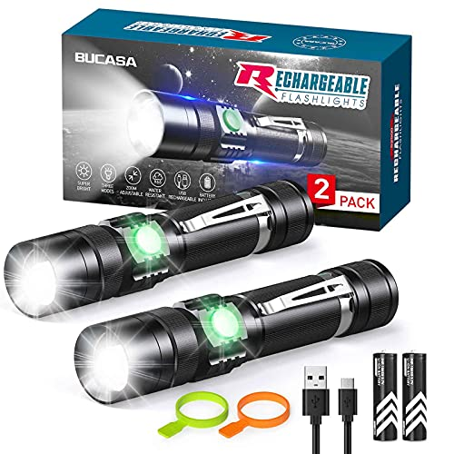 Rechargeable Flashlights S2500 (Battery Included), BUCASA Super Bright LED Tactical Flashlights High Lumens, 3 Modes, Zoomable, IP65 Waterproof Flash Light for Camping & Emergency, 2 Pack