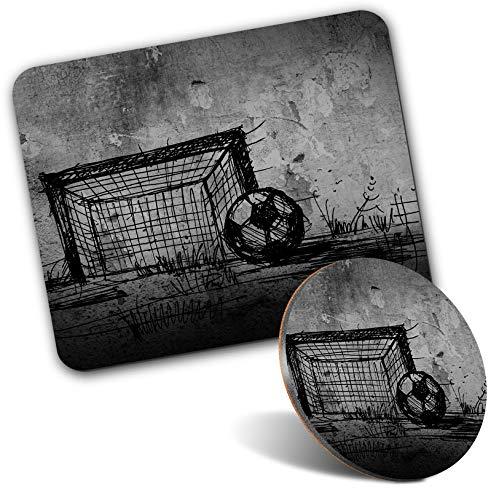 Tapis de souris rectangulaire et dessous de verre rond – BW – Dessin de but de football Grunge 20 cm et 9 cm pour ordinateur et ordinateur portable, bureau, cadeau, base antidérapante #36323