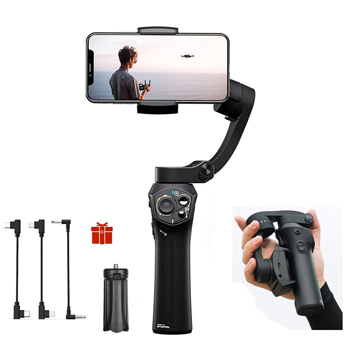 Snoppa Atom Foldable Pocket-Sized 3-Axis Handheld Gimbal Stabilizer Compatible for GoPro Hero 4 5 6 iPhone Smartphone & Wireless Charging & 24 H Running time,310g Payload