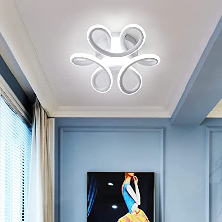 Comely Plafonnier LED, 30W Lampe de Lustre, Design Courbé Moderne Luminaire Plafonnier pour Couloir Balcon Salon Cuisine Salle de Bain Chambre, Blanc Froid 6000K, Diamètre 26cm