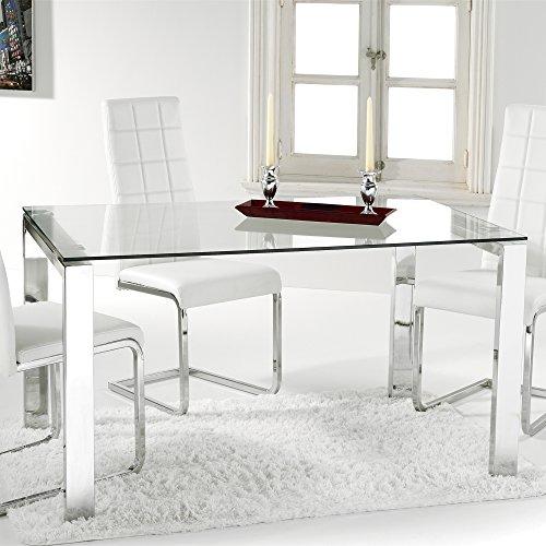 Adec - Universal, Mesa Comedor, Mesa Salon, Cocina, Estructura Metalica Cromada y Cristal Templado Translucido, Medidas: 140 cm (largo) x 90 cm (ancho) x 73,5 cm (alto)