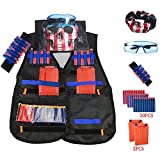 Tactical Vest Jacket kits for Nerf N-Strike Elite Series Adjustable Elite Tactical Vest Jacket Kit & Protective Glasses& Hand Wrist Band & Short Reload Clips for Children