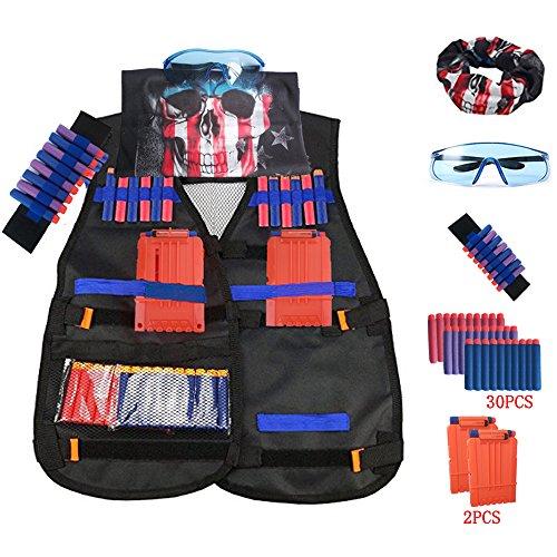 Tactical Vest Jacket kits for Nerf N-Strike Elite Series Adjustable Elite Tactical Vest Jacket Kit & Protective Glasses& Hand Wrist Band & Short Reload Clips for Children
