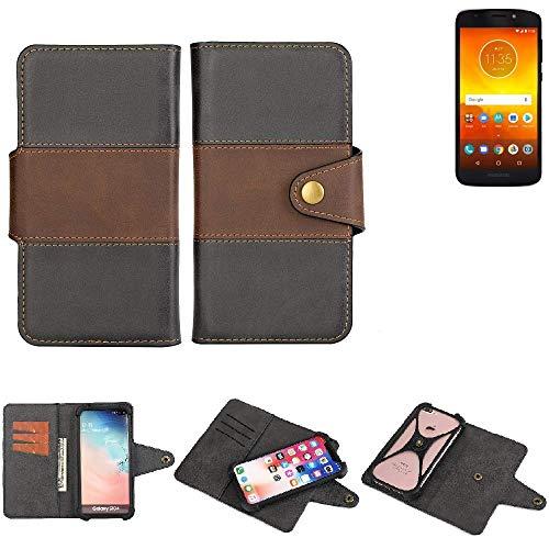 K-S-Trade® Handy-Hülle Schutz-Hülle Bookstyle Wallet-Case Für Motorola Moto E5 Dual SIM Bumper R&umschutz Schwarz-braun 1x
