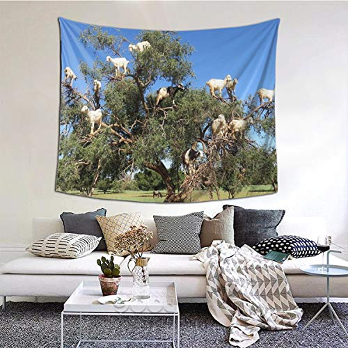 Tapiz mural de cabras en árboles para dormitorio, sala de estar, dormitorio, decoración del hogar (121 x 152 cm)