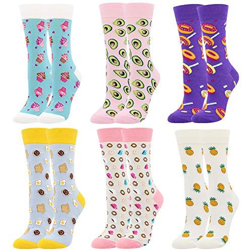 BONANGEL Damen Lustige Bunte Socken,Mädchensocken witzige Strümpfe, Fun Gemusterte Muster Socken, Verrückte Socken Modische Oddsocks Mehrfarbig Klassisch als Geschenk, Neuheit Sneaker (6 Paar-Donut1)