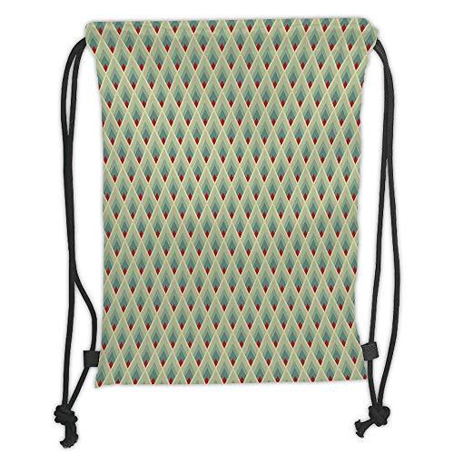 Fevthmii Drawstring Backpacks Bags,Geometric,Mountain Shaped Upward Triangles Symmetrical Diamonds Contemporary Art,Pale Green Red Ivory Soft Satin,5 Liter Capacity,Adjustable String Closur