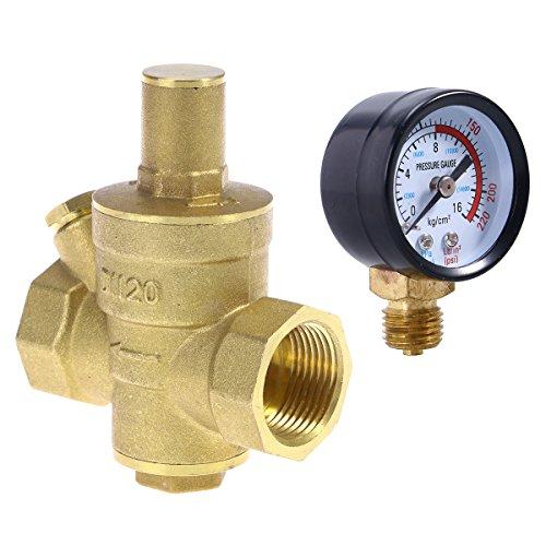 UKCOCO DN20 Regolatori di riduzione della pressione dell'acqua in ottone regolabili per impieghi gravosi con manometro